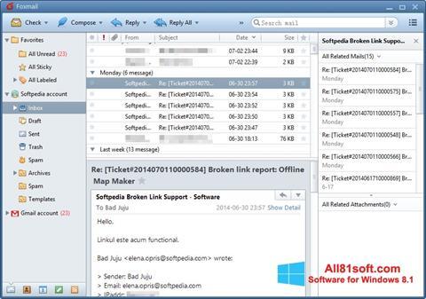 Posnetek zaslona FoxMail Windows 8.1