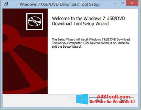 Posnetek zaslona Windows 7 USB DVD Download Tool Windows 8.1