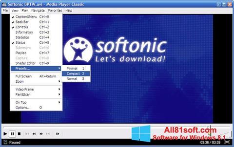 Posnetek zaslona Media Player Classic Windows 8.1