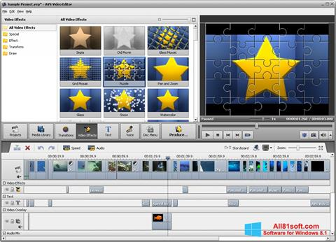 Posnetek zaslona AVS Video Editor Windows 8.1
