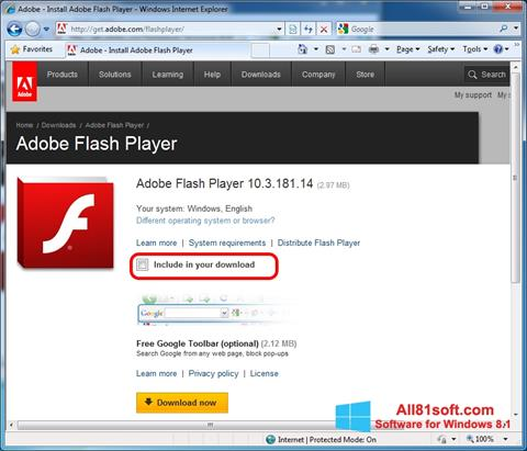 Posnetek zaslona Adobe Flash Player Windows 8.1