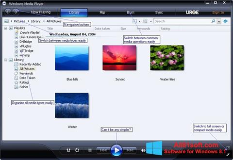 Posnetek zaslona Media Player Windows 8.1