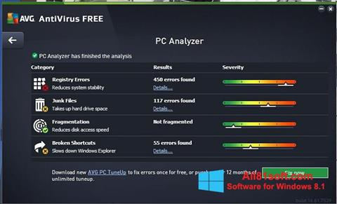 Posnetek zaslona AVG AntiVirus Free Windows 8.1