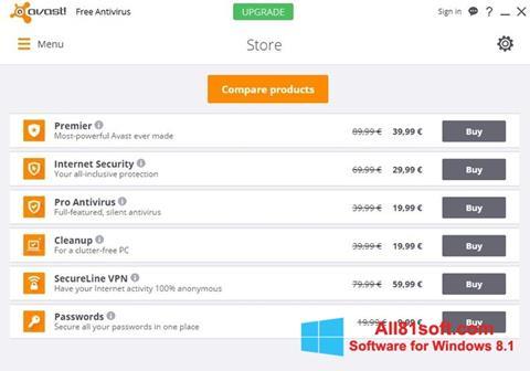Posnetek zaslona Avast Free Antivirus Windows 8.1