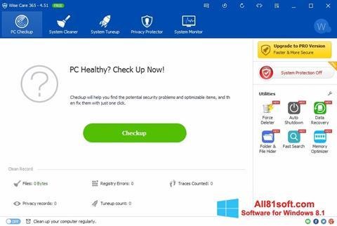 Posnetek zaslona Wise Care 365 Windows 8.1