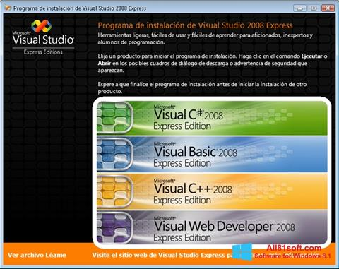 Posnetek zaslona Microsoft Visual Studio Windows 8.1