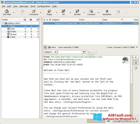 Posnetek zaslona Claws Mail Windows 8.1