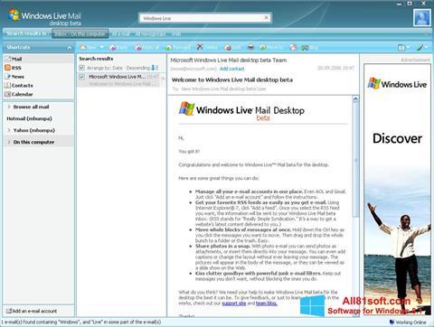 Posnetek zaslona Windows Live Mail Windows 8.1
