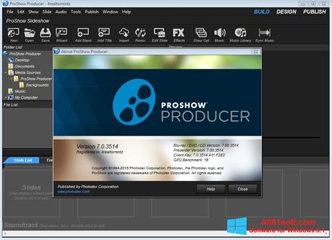 Posnetek zaslona ProShow Producer Windows 8.1