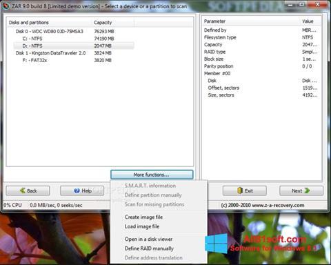 Posnetek zaslona Zero Assumption Recovery Windows 8.1