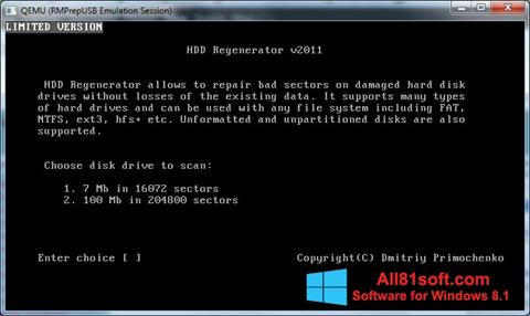Posnetek zaslona HDD Regenerator Windows 8.1