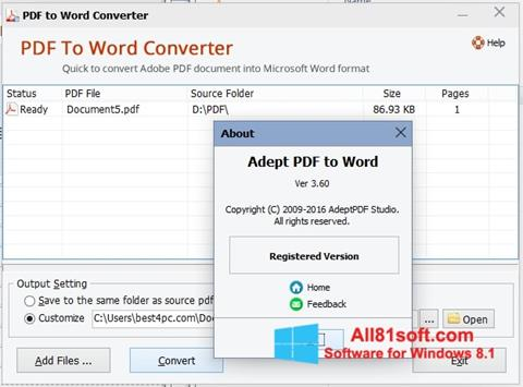Posnetek zaslona PDF to Word Converter Windows 8.1