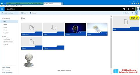 Posnetek zaslona OneDrive Windows 8.1