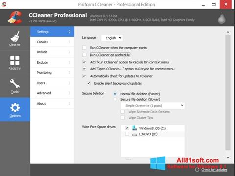 Posnetek zaslona CCleaner Windows 8.1