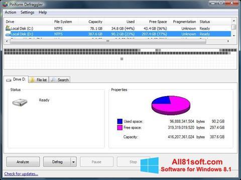 Posnetek zaslona Defraggler Windows 8.1