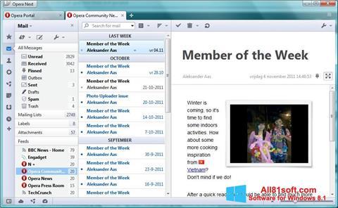 Posnetek zaslona Opera Mail Windows 8.1