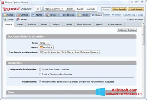 Posnetek zaslona Zimbra Desktop Windows 8.1