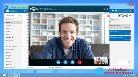 Posnetek zaslona Skype Windows 8.1